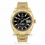 Rolex Sky-Dweller Yellow Gold 42mm Dual Time Annual Calendar Black Dial 326938 CL5HKA - Beverly Hills Watch Company