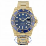 Rolex Submariner Date 40MM 18k Yellow Gold Blue Ceramic Bezel Blue Dial 116618 BL QZ4QEF - Beverly Hills Watch Company