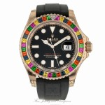 Rolex Yacht-Master 40mm Rose Gold Rainbow Oysterflex Rubber Strap 116695SATS ZL7VZN - Beverly Hills Watch