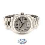 Rolex 31mm Platinum Datejust President Bracelet Pave Dial 178246 MRXYZM