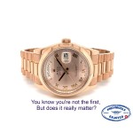 Rolex 36MM Day-Date President Everose Champagne Rose Roman Dial 118205 35E0AM - Beverly Hills Watch Company
