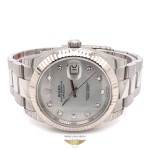Rolex Datejust 41mm White Gold Fluted Bezel White Mother of Pearl Diamond Dial 126334 UDTAYN