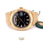 Rolex Day-Date President 40MM Yellow Gold Fluted Bezel Black Dial 228238 WQZLJX - Beverly Hills Watch Company