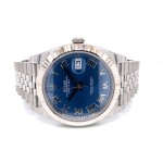 Rolex Datejust 41mm White Gold Fluted Blue Dial Silver Roman Jubilee Bracelet 126334 X6LC5N - Beverly Hills Watch