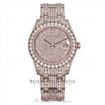 Rolex Pearlmaster 39mm Everose Gold Paved Diamonds 86405RBR YLEE4T - Beverly Hills Watch Company
