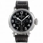 Zenith Pilot Montre d'Aeronef Type 20 Annual Calendar 48MM Stainless Steel Chronograph Black Dial Dark Brown Alligator Strap 03.2430.4054-21.C721 8RD76P - Beverly Hills Watch Store