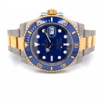 Rolex Submariner Stainless Steel 18k Yellow Gold 40mm Smurf Blue 116613 0RDVQT - Beverly Hills Watch Company