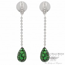 Teardrop 18k White Gold Tsavorites Diamond Earrings BOW5204DZ.TVR 1324 - Beverly Hills Watch