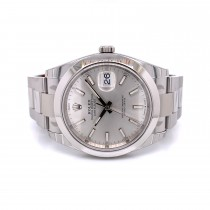 Rolex Datejust 41mm Smooth Bezel Silver Stick Dial 126300 - Beverly Hills Watch Company