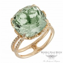 Designs by Naira 18k Rose Gold Green Quartz Lace Diamond Ring BG P 11370 ZD.GQR DCXQJZ - Beverly Hills Jewelry Store