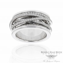 18k White Gold Diamond Ring Thin Bands Criss Crossing on a Solid Gold Band AV53JX - Beverly Hills Watch