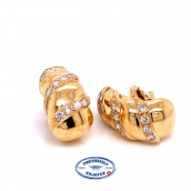 Pair of 18K Yellow Gold Three Row Diamond Earrings - Beverly Hills Watch and Jewelry Store