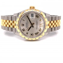 Rolex Datejust 31mm Domed Diamond Bezel Yellow gold and Stainless Silver Roman Diamond Dial 278343RBR 39M5K8 - Beverly Hills Watch Company