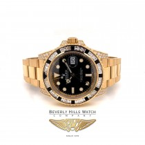 Rolex GMT Master II 40mm Yellow Gold Diamond and Sapphire Baguette Bezel 116758SANR 5L6PMJ - Beverly Hills Watch Company