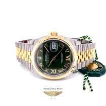 Rolex Datejust 41mm Stainless Steel 18k Yellow Gold Green Diamond Dial 126233 95KWJH - Beverly Hills Watch Company