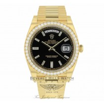Rolex Day-Date 40mm 18k Yellow Gold Diamond Bezel Black Baguette Diamond Dial President 228348 8C1TFM - Beverly Hills Watch Company