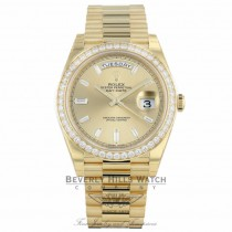 Rolex Day-Date 40mm 18k Yellow Gold Diamond Bezel Champagne Baguette Diamond Dial President 228348RB PA7YJZ - Beverly Hills Watch Company