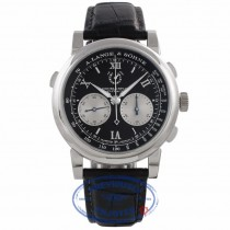 A. Lange & Sohne Double Split Black Dial Platinum Silver Subdials 404.035 3ZUMU5 - Beverly Hills Watch Company Watch Store
