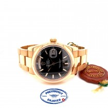 Rolex Day-Date President 36mm Everose Gold Domed Bezel Black Dial 118205 A7M2U2
