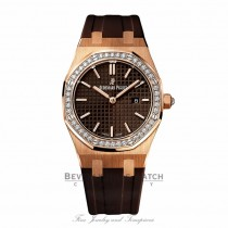 Audemars Piguet Royal Oak 33MM Ladies Diamond Bezel Rose Gold 67621OR.ZZ.D080CA.01 6QBAKP - Beverly Hills Watch Company