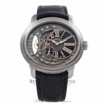 Audemars Piguet Millenary Stainless Steel Skeleton Dial Black Alligator Strap 15350ST.OO.D002CR.01 J5C373 - Beverly Hills Watch Store