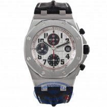 Audemars Piguet Royal Oak Offshore Panda Chronograph 44mm Stainless Steel Hornback Crocodile Leather Strap 26170ST.OO.D101CR.02 6DZP4H - Beverly Hills Watch Store