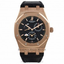 Audemars Piguet Royal Oak Dual Time 39MM 18k Rose Gold Black Dial Black Alligator Strap 26120OR.OO.D002CR.01 0C1WK8 - Beverly Hills Watch Company Watch Store