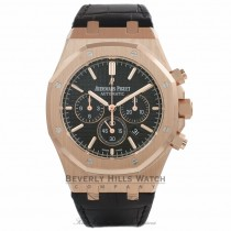 Audemars Piguet Royal Oak Chronograph 41MM Rose Gold Black Dial Black Alligator Strap 26320OR.OO.D002CR.01 T68YH6 - Beverly Hills Watch Company