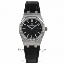 Audemars Piguet Royal Oak 33MM Ladies Stainless Steel Diamond Bezel Black Dial Alligator Strap 67651ST.ZZ.D002CR.01  X1RWK2 - Beverly Hills Watch Company Watch Store