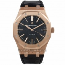 Audemars Piguet Royal Oak 39MM Automatic 18k Rose Gold Black Dial Black Strap 15300OR.OO.D002CR.01 HV1F39 - Beverly Hills Watch Company Watch Store