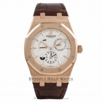 Audemars Piguet Royal Oak Dual Time 39MM 18K Rose gold Silver Dial Brown Alligator Strap 26120OR.OO.D088CR.01 PN6ZK4 - Beverly Hills Watch Store