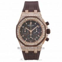 Audemars Piguet Royal Oak Offshore Chronograph 18k Rose Gold Brown Dial Diamond Case and Bezel 26092OK.ZZ.D080CA.01 3LWR78 - Beverly Hills Watch Company Watch Store