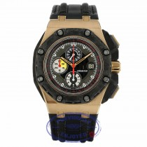 Audemars Piguet Royal Oak Offshore Grand Prix Chronograph Alinghi 18k Rose Gold Black Carbon Black Dial Black Leather Strap 26290RO.OO.A001VE.01 YME0NA - Beverly Hills Watch Company
