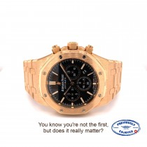 Audemars Piguet Royal Oak Chronograph 41mm Rose Gold Black Dial 26320OR.OO.1220OR.01 7YQZVP - Beverly Hills Watch Company