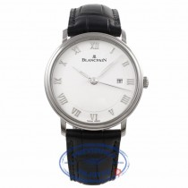 Blancpain Villeret White Dial Stainless Steel Case Silver Roman Numerals 6651-1127-55B 221TXH  - Beverly Hills Watch Company Watch Store