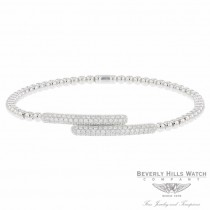 Naira & C 18k White Gold stretch Cross Over Diamond Bracelet OM-PLI026/300/B P20981 - Beverly Hills Jewelry Company