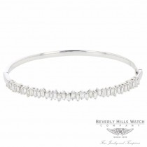 Naira & C Diamond Baguette Bangle Bracelet White Gold LDD3MZ - Beverly Hills Watch Company