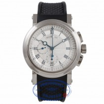 Breguet Horlodger de la Marine 18k White Gold Chronograph Silver Dial Blue Markings Rubber Strap 5827BB.125ZU 9FNNDD - Beverly Hills Watch Company Watch Store