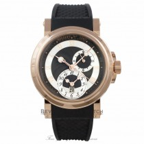 Breguet Marine Dual Time 18k Rose Gold Black Dial 42MM Rubber Strap 5857BRZ25ZU 0568HU - Beverly Hills Watch Company Watch Store