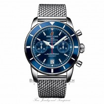 Breitling Superocean Heritage Chronograph Blue Dial Stainless Steel Blue Bezel A2337016/C856 T6XLYX - Beverly Hills Watch Company Watch Store