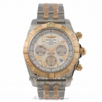 Breitling Chronomat 44mm Chronograph Stainless Steel and Rose Gold Bracelet Silver Roman Numeral Dial Rose Gold Bezel Watch CB011012-G677 Beverly Hills Watch Company Watch Store