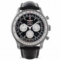 Breitling Navitimer 46 MM Chronograph Stainless Steel Black Dial Black Alligator Strap AB012721/BD09 J3HNQF - Beverly Hills Watch Store