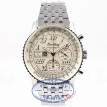 Breitling Spatiographe 42mm Chronograph 10 Minute Totalizer Stainless Steel Navitimer Bracelet White Dial Watch A36030-1 Beverly Hills Watch Company Watch Store