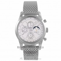 Breitling Transocean Chronograph 1461 Stainless Steel Silver Dial A1931012/G750 - Beverly Hills Watch Company Watch Store