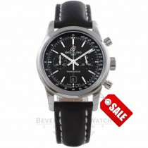 Breitling Transocean Chronograph 38 Stainless Steel Black Dial A4131012/BC02 QJA15Z - Beverly Hills Watch Company Watch Store