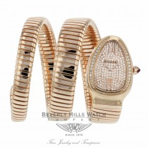 Bulgari Serpenti Tubogas 18k Pink Gold Diamond Pave Dial Quartz SPP35D2GDG.2T 8W0QCP - Beverly Hills Watch Company