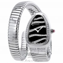 Bvlgari Serpenti Stainless Steel Diamond Bezel Black Diamond Stripe Dial 1 Twirl Wrap Around 102440 9V93RH - Beverly Hills Watch Company