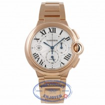 Cartier Ballon Bleu Chronograph XL 18k Pink Gold 47MM Silver Guilloche Dial W6920010 3TYYNT - Beverly Hills Watch Company Watch Store