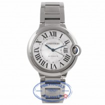 Cartier Ballon Bleu Medium 36MM Stainless Steel Silver Dial Automatic W6920046 TXPHKZ - Beverly Hills Watch Store