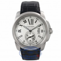 Cartier Calibre De Cartier 42MM Stainless Steel Black Alligator Strap W7100037 EV6HJT - Beverly Hills Watch Company